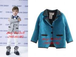 198.Aó khoác len DKNY giả vest BT màu xanh
