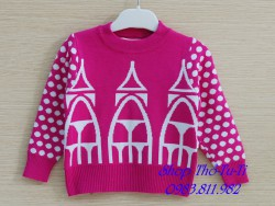 3269. Áo len Baby Zara  hình lâu đài màu hồng-558als