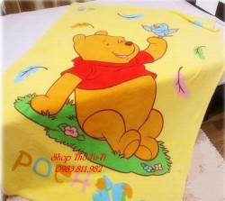 6028.  Chăn Disney hoạt hình gấu pu màu vàng -943ktx