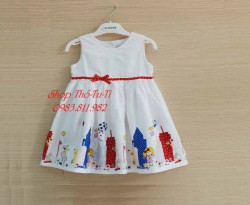 3151. Váy thô Next in lâu đài đính nơ màu trắng-786vas