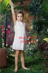 3308. Váy xô DKNY trắng ren ngang ngực ren tay - 831vas