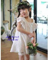 3327. Váy thô Cigirl ren hở vai màu trắng-864vas