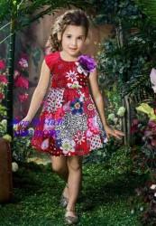 3350. Váy thô hoa đỏ DKNY đính hoa tím-893vas