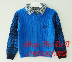 2081  Áo len Mayboy cổ sơ mi màu xanh dương416ald