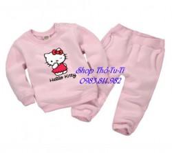 3096. Bộ nỉ bông Momcare Minizone màu hồng phấn hình kity-323bpd