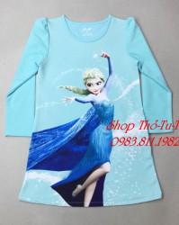 3168.  Váy nỉ da cá HM Frozen size đại 6-14y màu xanh-379vad