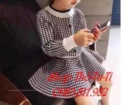 3198.  Bộ áo khoác len chân váy kẻ caro nhỏ trắng đen HQ-426bpd