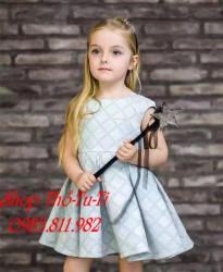 3519. Váy Hàn Quốc màu ghi tay hến dáng xoè - 625vad