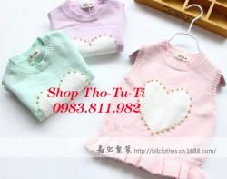 3339.  Áo gile len Dodo Kids lông cừu dệt trái tim đính hạt các màu- 594alg