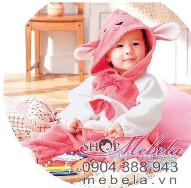 BD505 Body nỉ bé gái thỏ hồng 2 nơ xinh xắn cho bé 8,12 cân 5 đến 24 tháng