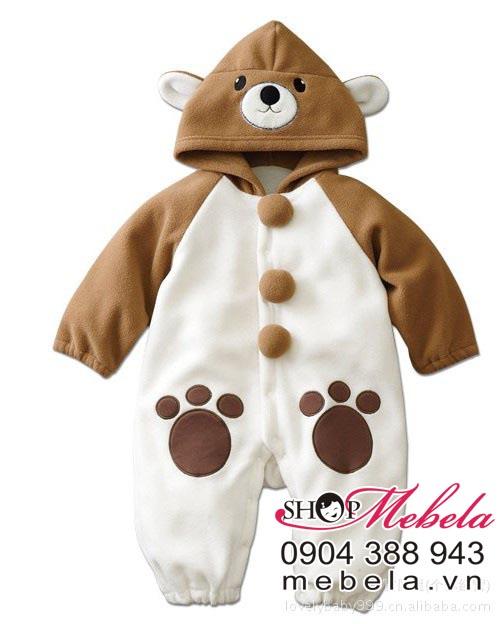 BD504 body nhung hình gấu nâu ngộ nghĩnh cho bé 6-10-12-13