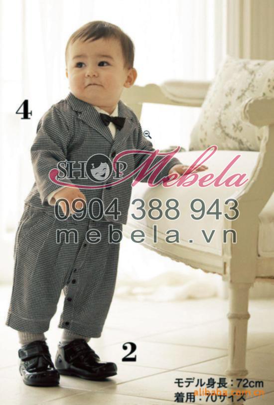 BD508 Bộ set 2 cho bé trai gồm áo  vest  và body kẻ caro size 6th-3 tuổi