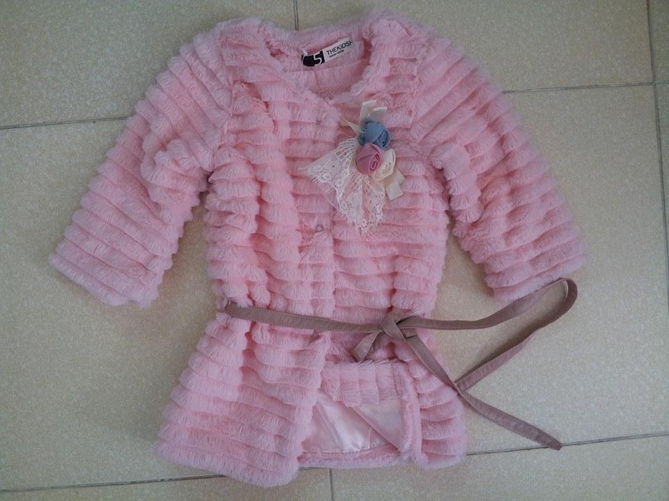 KG07 Áo khoác lông kiểu xếp tầng cho bé gái phong cách Hàn Quốc thương hiệu Thekidshow 2,3 tuổi