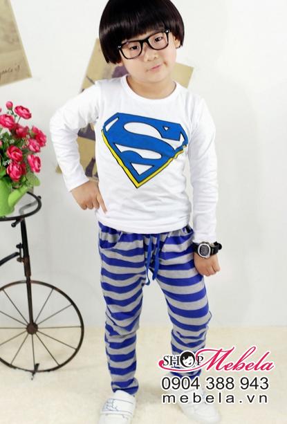 BT537 Bộ thun dài tay siêu nhân quần kẻ xanh cho bé 4,5,6 tuổi