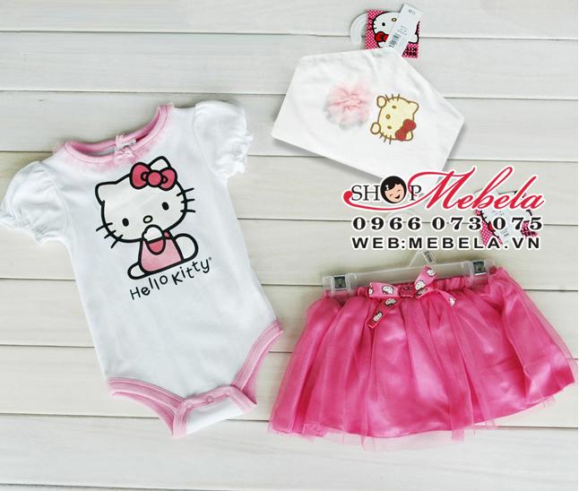 BD40 Bộ áo liền quần Hello Kitty gồm body, mũ và chân váy xòe xinh xắn cho bé 8 đến 13 cân