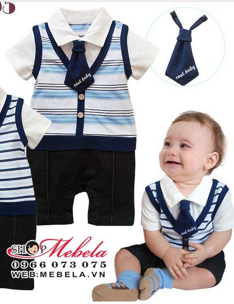 BD16 Áo liền quần kèm kẻ xanh cà vạt cho bé 8 đến 13 cân (khoảng 6tháng đến 2,5 tuổi)