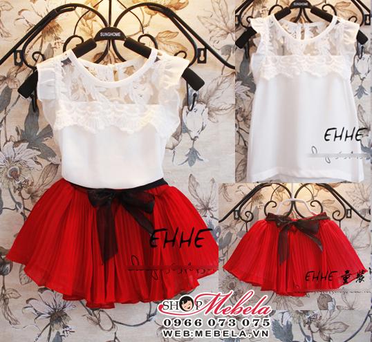 V205 Váy bộ  gồm áo voan và chân váy đỏ xòe