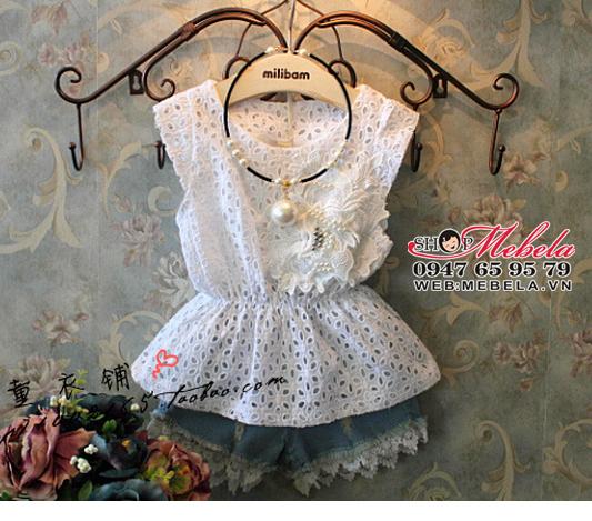 AG25 Áo váy cho bé ren trắng mát mẻ điệu đà 12,13kg, ko kèm quần