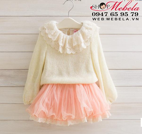 V530 Váy len móc liền chân ren bồng cho bé 1 đến 3 tuổi (10 đến 15kg)