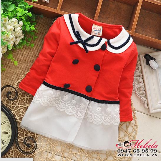 KG66 Áo khóac nỉ đỏ dáng váy cổ sen xinh xắn size 6 đến 12 cân ( 3-24 tháng)