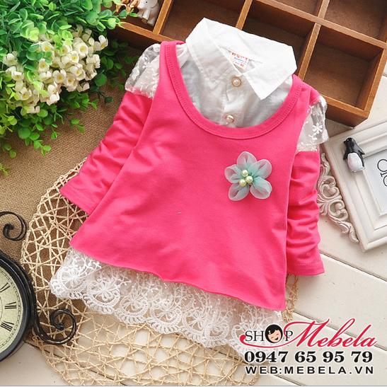 V531 Váy hồng 2 lớp cho bé gái cổ đức đính hoa xanh size 12 đến 16 cân (2 đến 3,5 tuổi)