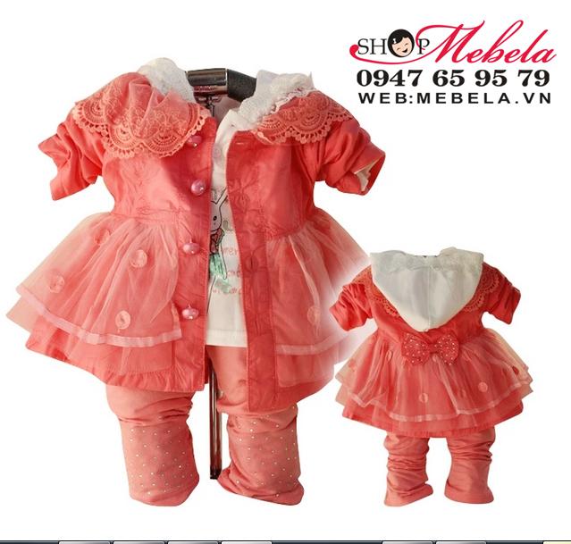 BG516 Bộ bé gái set 3 gồm áo khoác gió 2 lớp dáng váy, áo nỉ liền mũ và quần size 10 -12kg (khoảng 1,2 tuổi)
