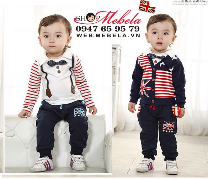 BT542 Bộ nỉ bé trai cờ Anh gồm 3 món: áo khoác nỉ, áo thun dài tay, quần nỉ 8 đến 12kg (6 đến 24tháng)