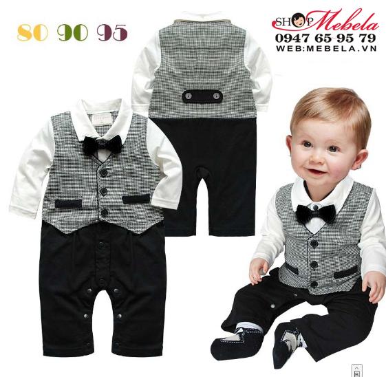 BD512 Body áo liền quần cho bé  giả gile vest, nơ cổ 5 đến 10kg