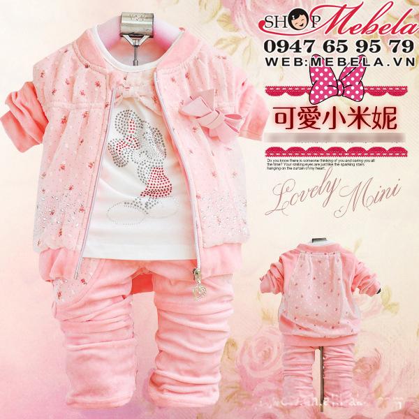 BG504 Bộ nhung bé gái hình Mickey gồm áo khoác, áo dài tay và quần size 8 đến 13 kg (khoảng 6 tháng đến 2,5 tuổi)