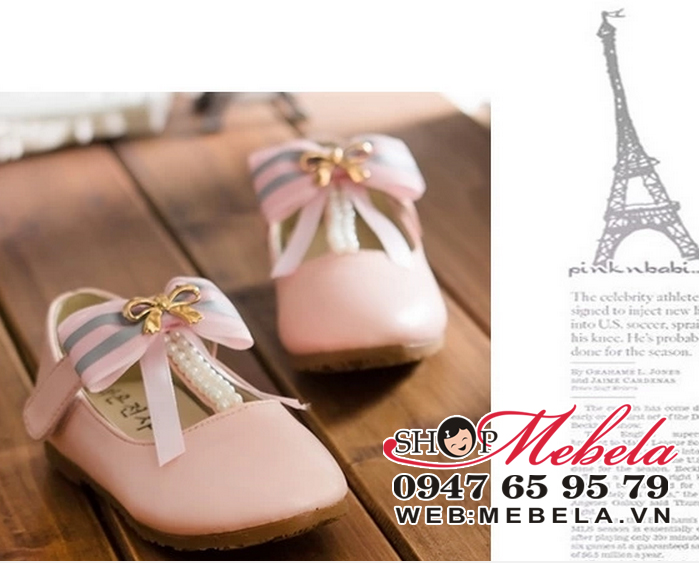 G50 Giày nơ công chúa hồng phấn cho bé size 27 đến 30 (form nhỏ, khoảng 3 đến 6 tuổi)