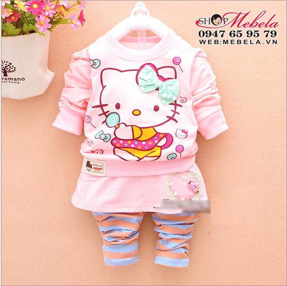 BG522 Bộ áo nỉ kèm quần liền váy Kitty cho bé gá 12,14,(khoảng 2,3, tuổi)
