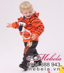 BT501 Bộ nỉ lót lông hình hổ cực mềm và ấm thương hiệu BABYROW, mặt hổ có thể tháo rời ra được size khoảng 8-13 cân 6th - 2 tuổi