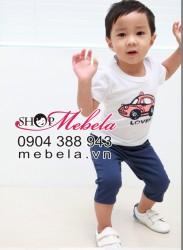 BT08 Bộ áo phông in hình ô tô + quần sooc cho bé trai 3-6 tuổi