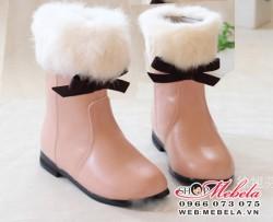 B14 boot cao cổ  lót lông cổ lông trang trí nơ cực xinh sz 21