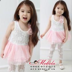 V90 Bộ set 2 gồm váy ren gắn hoa vai và quần legging pha ren phía dưới cho bé  141,5kg 2,3uổi