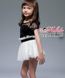 V83 Váy ren công chúa đen pha trắng cực xinh cho bé 2-8 tuổi