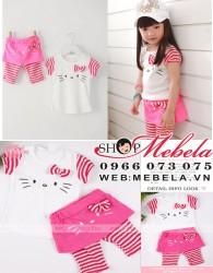 BG39 Bộ bé gái áo cộc tay kèm quần liền váy Hello Kitty xinh xắn chất mỏng mát cho bé 2 đến 4 tuổi, 13 cân trở lên