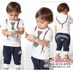 BT68 Bộ cộc tay cà vạt in hình dây đai ngộ nghĩnh cho bé trai 2 đến 6 tuổi