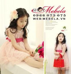 V104 Váy ren hồng công chúa tay cánh tiên 10.11 cân