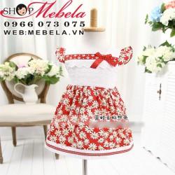 V113 Váy hoa trắng đỏ cho bé 9 đến 14 cân