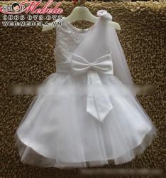 V102 Váy dự tiệc nơ vai trắng  xinh xắn cho bé 2 đến 6 tuổi