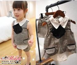 BG59 Bộ áo kẻ  2 lớp + quần sooc cho bé khoảng 12 đến 22 cân (2 đến6 tuổi)