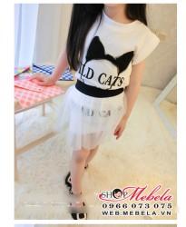 V179 Bộ váy WILD CAT cho bé  gồm áo và chân váy rời size 3 đến 7 tuổi (khoảng 15 đến 25 cân)