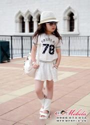 V182 Váy bé gái ren trắng in số 78 size 2 đến 7 tuổi