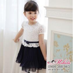 V195 Váy công chúa cho bé ren trắng chân xanh tím than size 10 đến 15 cân (1 đến 3 tuổi)