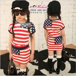 V202 Váy cờ Mỹ bộ rời cho bé 3 đến 5 tuổi