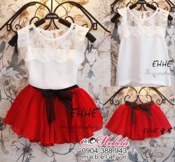 V205 Váy bộ cho bé gồm áo pha ren trắng và chân váy đỏ xòe 1 đến 5 tuổi