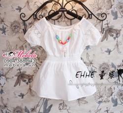 V206 Áo váy trắng cho bé tay pha ren chất mát 2 đến 4 tuổi