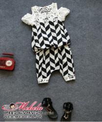 BG80 Bộ quần áo bé gái đen trắng pha ren hở vai 15 đến 22 cân (khoảng 3 đến 7 tuổi