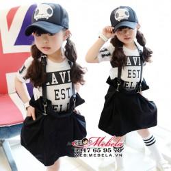 V178 Chân váy đen kèm dây đai khỏe khoắn cá tính cho bé  4 tuổi trở lên